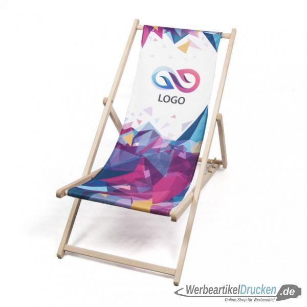 Liegestuhl mit Fotodruck, Logo, Werbung 5 Stück